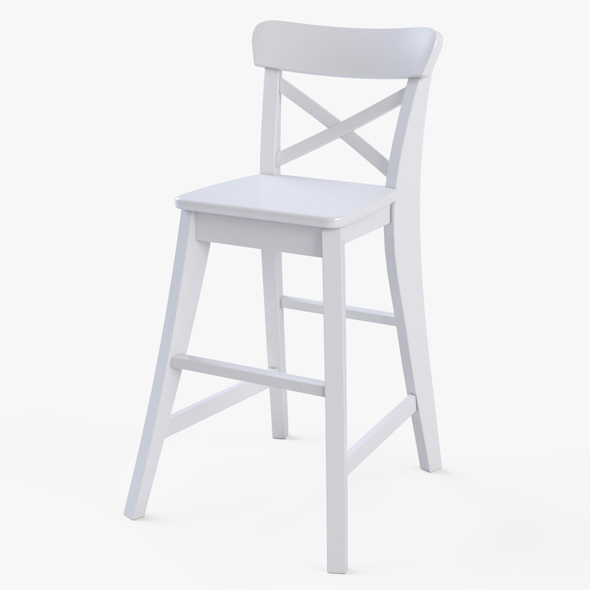 Junior Chair Ikea Ingolf White   3DOcean Item For Sale
