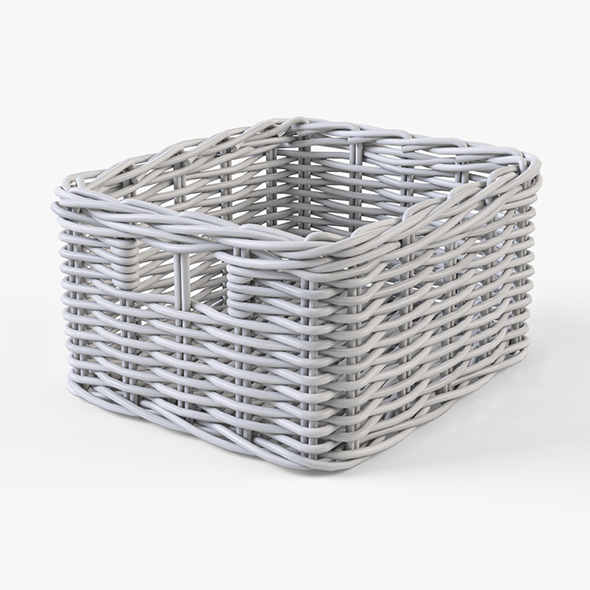 Wicker Basket Ikea Byholma 1 White - 3DOcean Item for Sale
