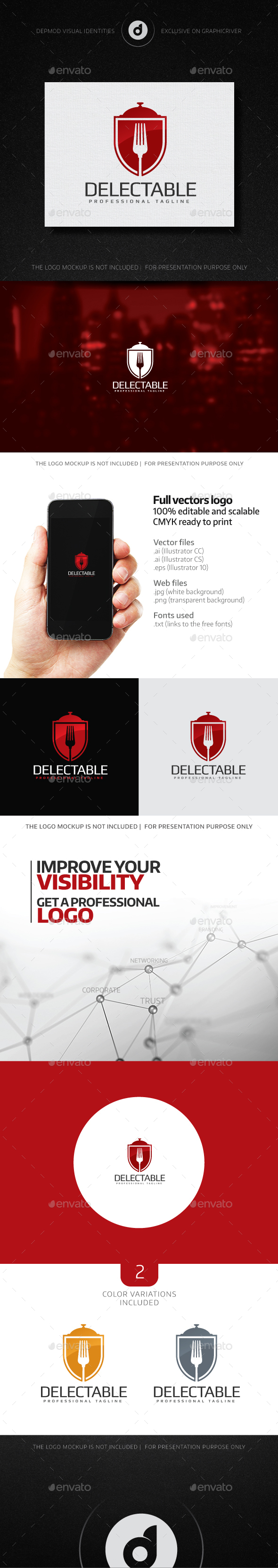Delectable Logo - Food Logo Templates