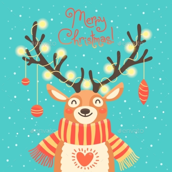 Christmas Card Cute Cartoon Deer With Garlands - Christmas Seasons/Holidays