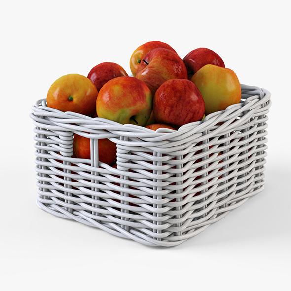 Wicker Apple Basket Ikea Byholma 1 White - 3DOcean Item for Sale