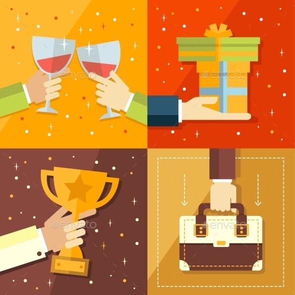 Vector Success Concepts Bowl, Goal, Medal, Summit - Miscellaneous Vectors