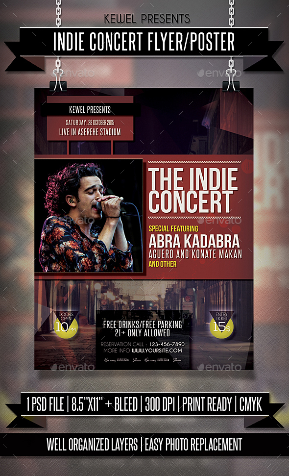 Live Indie Concert Flyer / Template - Events Flyers