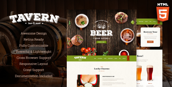 Tavern | Pub, Restaurant & Brewery Site Template - Restaurants & Cafes Entertainment