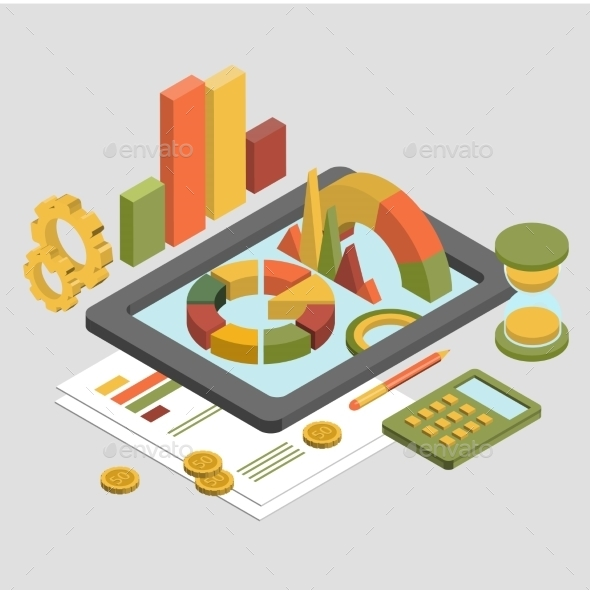 Flat 3d Isometric Business , Chart Graphic Vector - Business Conceptual
