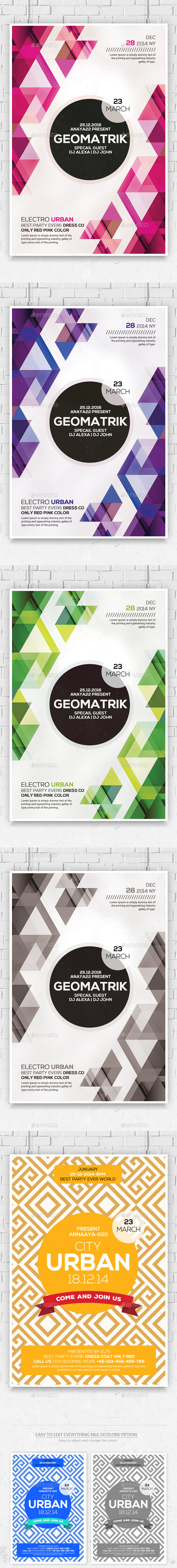 Minimal Geometric Flyers Bundle - Clubs & Parties Events