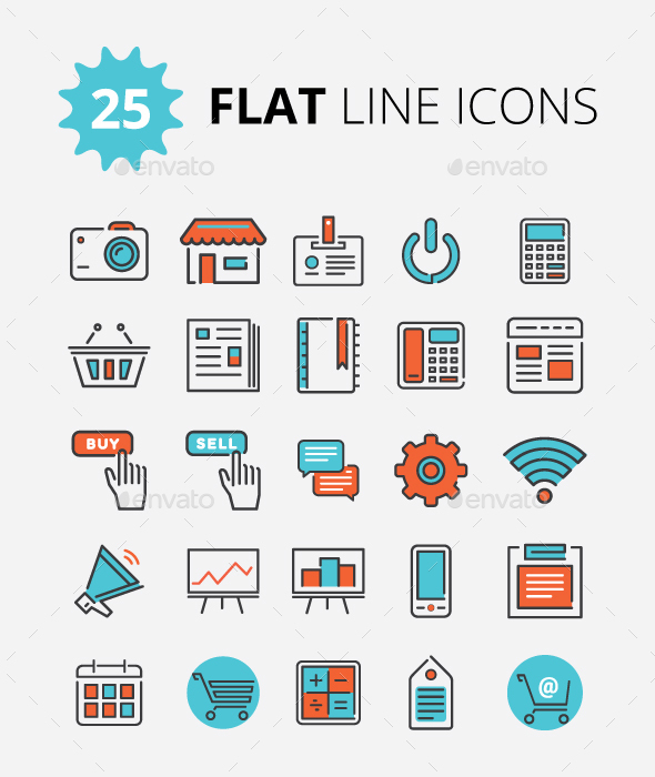 Modern Flat Line Icons - Icons