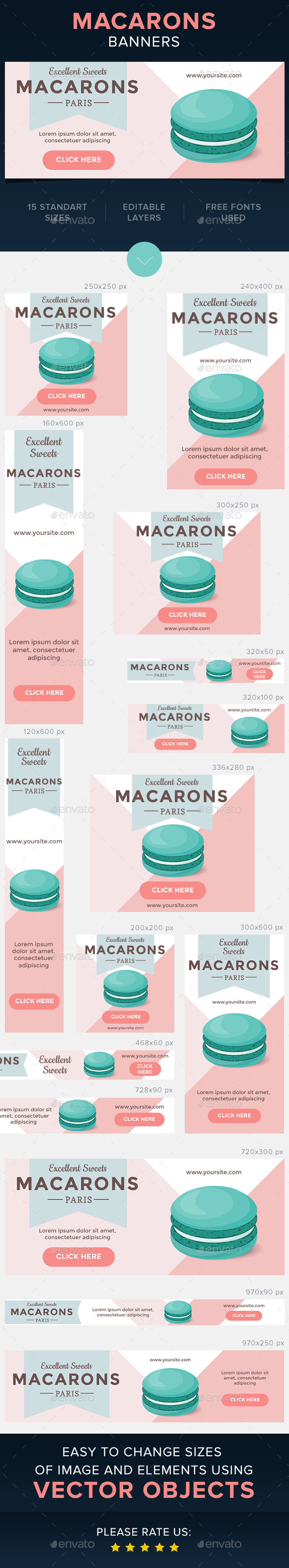 Macarons Banners - Banners & Ads Web Elements