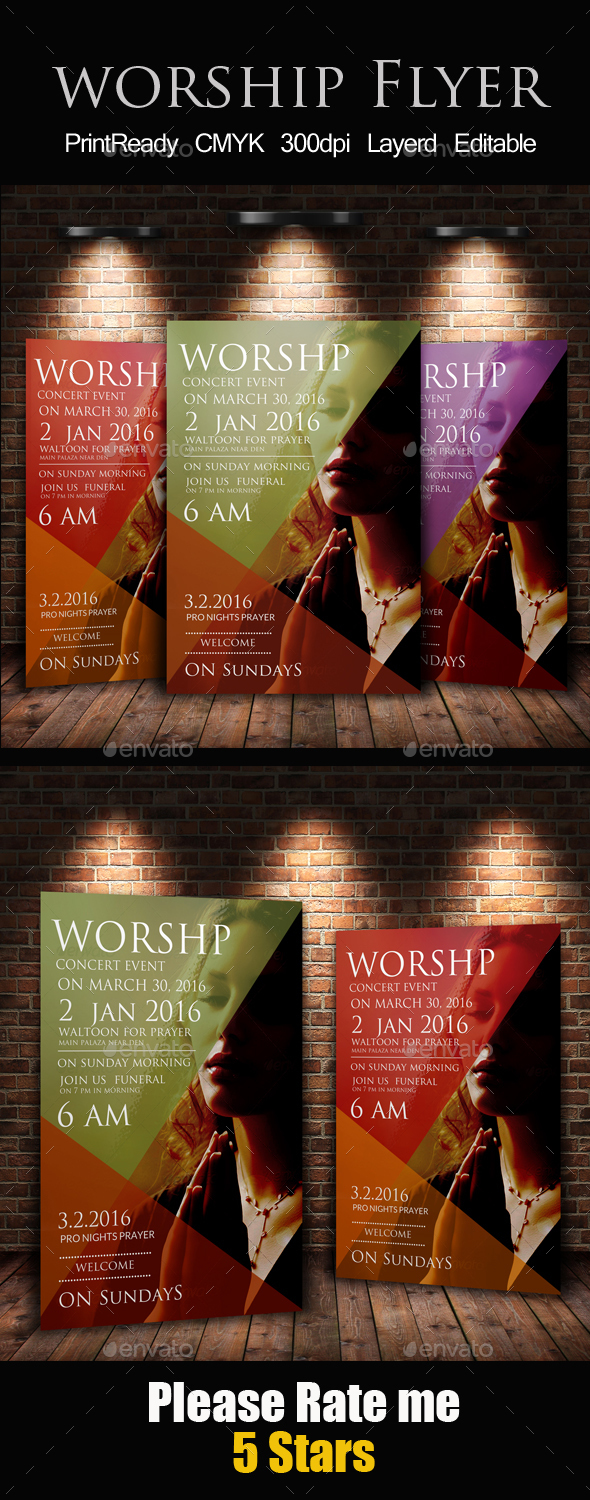 Worship to God Print Template - Church Flyers