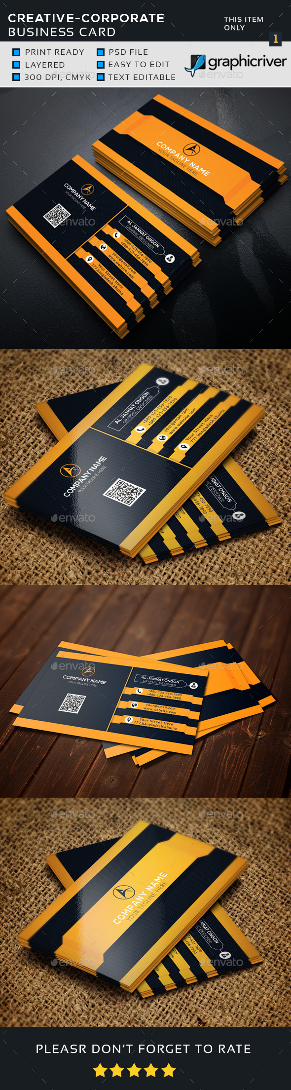 3D Corporate Business Card - Business Cards Print Templates
