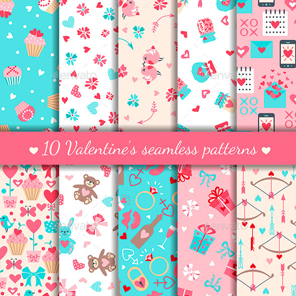 Ten Valentine's Day Seamless Patterns - Valentines Seasons/Holidays
