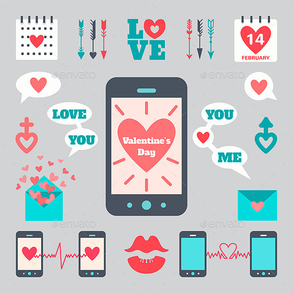 Flat Icon Set with Smart Phone for Valentine's Day - Valentines Seasons/Holidays
