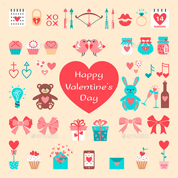 Valentine's Flat Elements for your Design - Valentines Seasons/Holidays