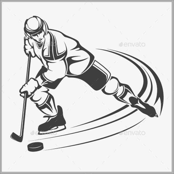Hockey Player Vector Illustration - Sports/Activity Conceptual