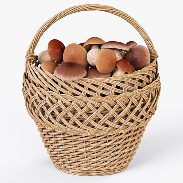 Wicker Basket 01 with Mushrooms - 3DOcean Item for Sale