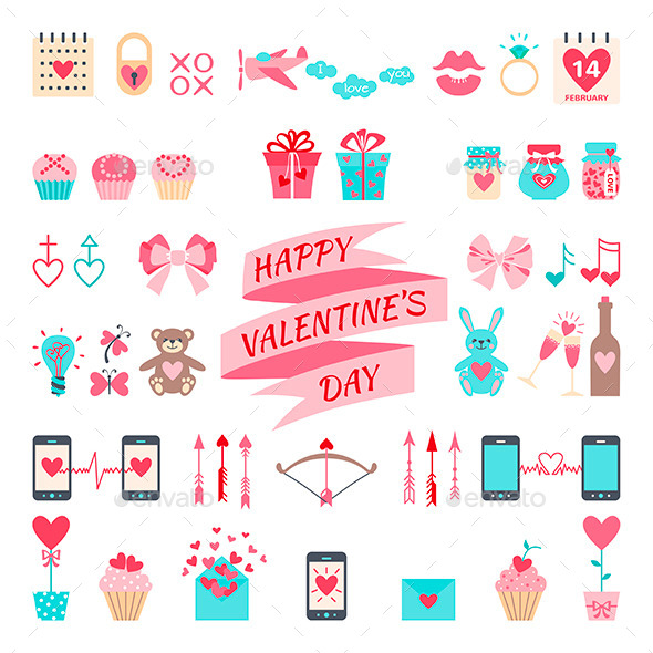 Valentine's Day Flat Elements for your Design - Valentines Seasons/Holidays