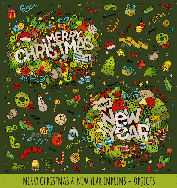 New Year and Christmas Doodles Designs - Miscellaneous Seasons/Holidays