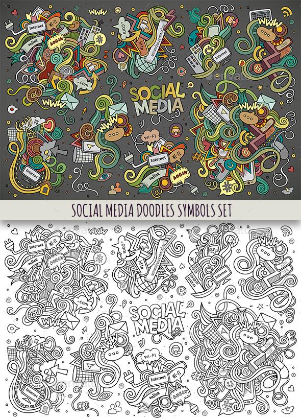 Social Doodles Objects Set - Media Technology