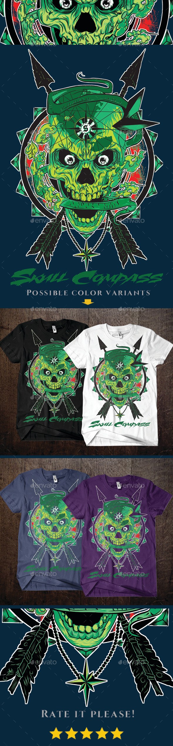 Skull Compass - Designs T-Shirts