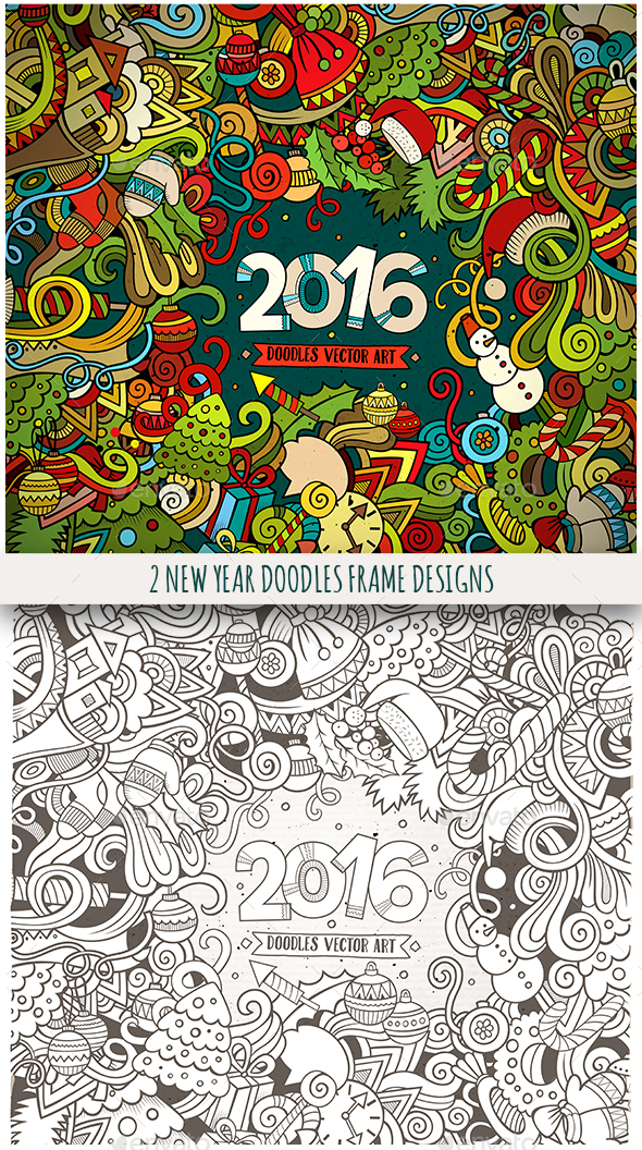 2 New Year Doodles Frames - New Year Seasons/Holidays