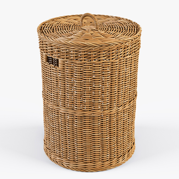 Wicker Laundry Basket 02 - 3DOcean Item for Sale