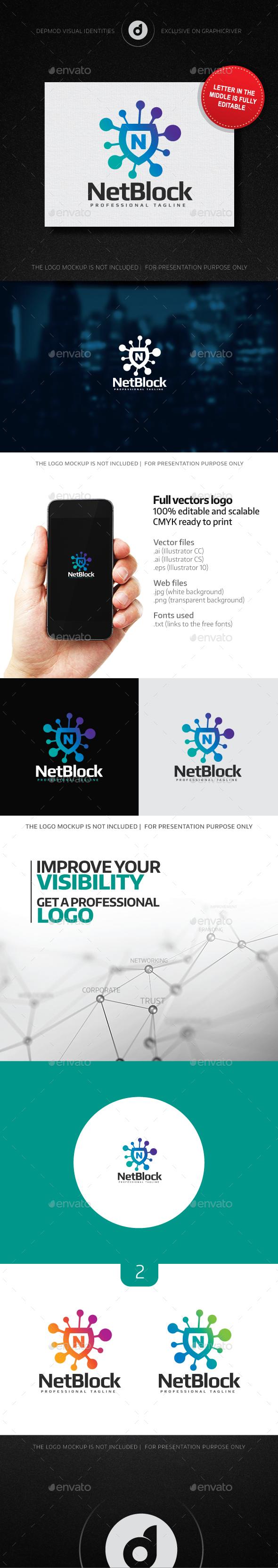 Net Block Logo (editable letter) - Letters Logo Templates