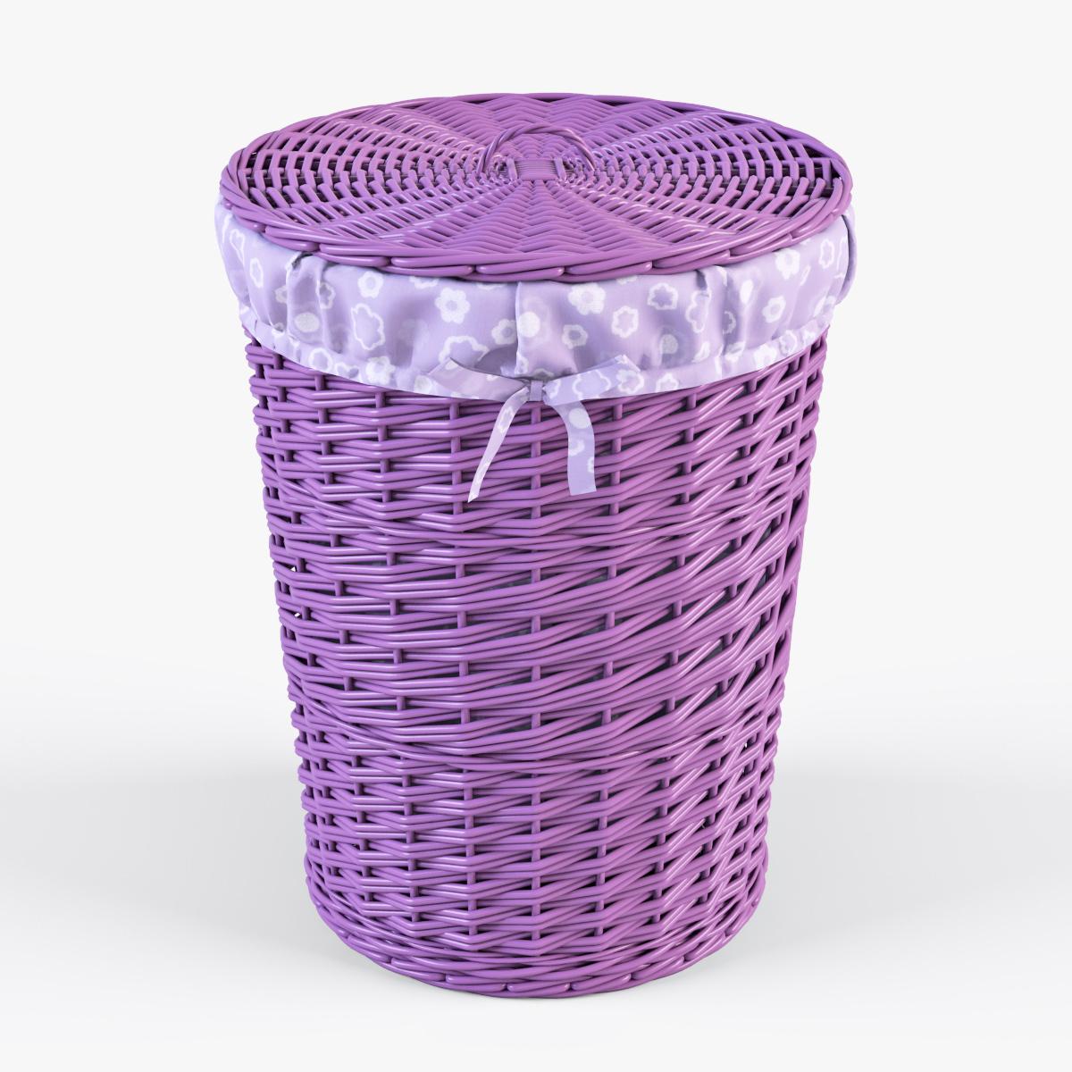 Wicker Laundry Basket 03 Purple Color By Markelos 3docean