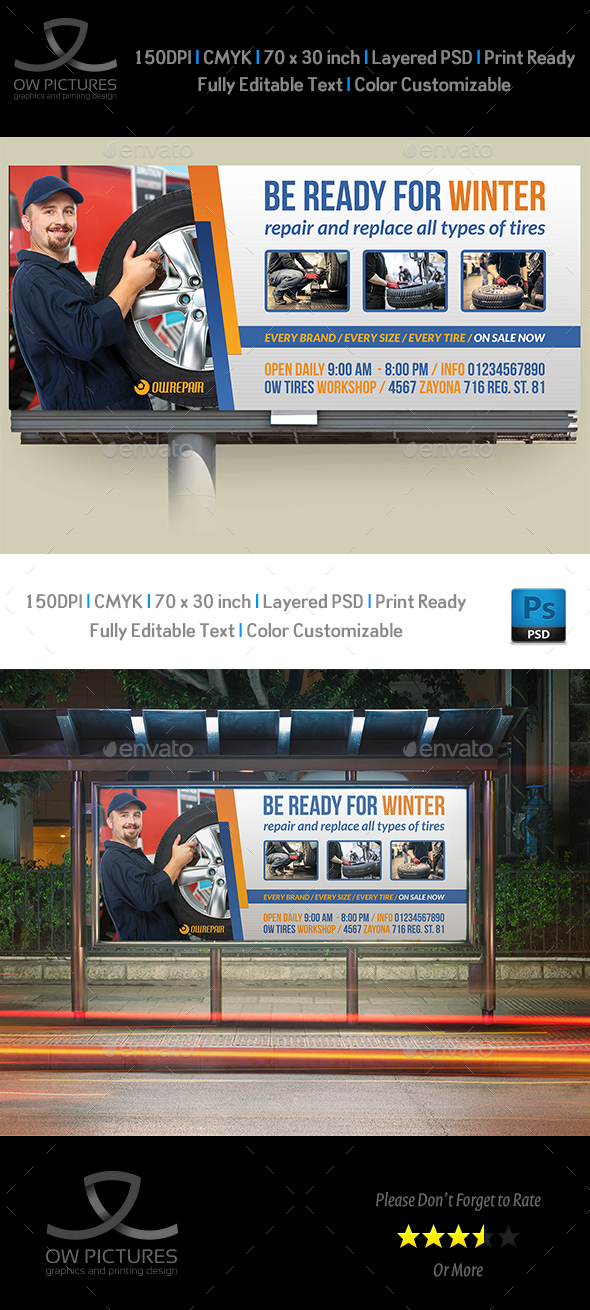Tire Services Billboard Template - Signage Print Templates