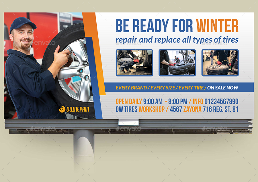 Tire Services Billboard Template by OWPictures | GraphicRiver