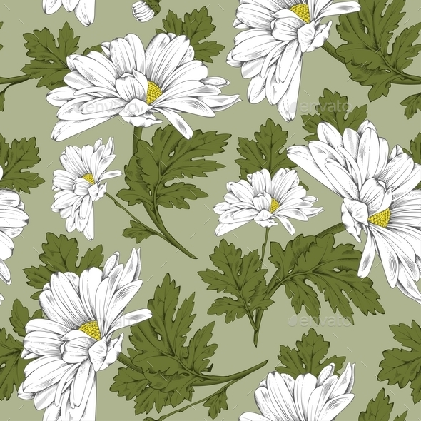 Daisy Floral Seamless Pattern  - Backgrounds Decorative