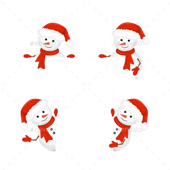 Snowmen in Santa Hats - Christmas Seasons/Holidays