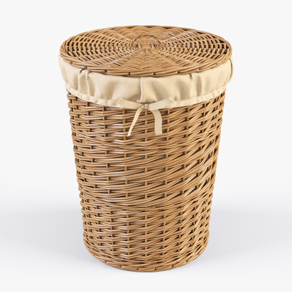 Wicker Laundry Basket 03 (Natural Color) - 3DOcean Item for Sale