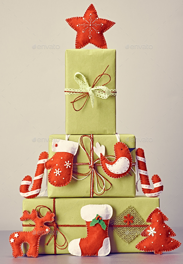 Gift boxes handcraft stack,like fir tree.Christmas - Stock Photo - Images