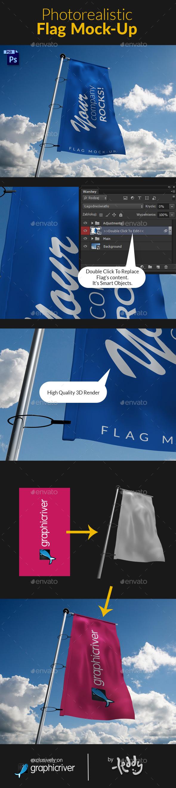 Photorealistic Flag MockUp - Signage Print