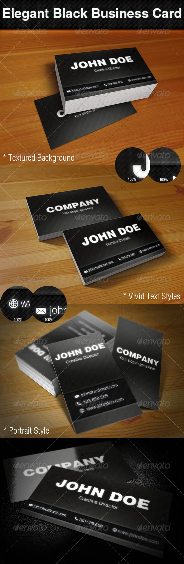 Elegant Black Business Cards - Creative Business Cards
