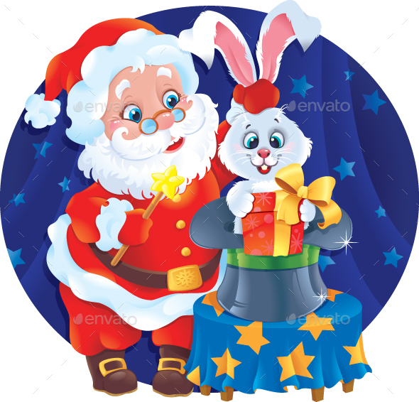 Santa Claus and Rabbit in The Hat - Christmas Seasons/Holidays