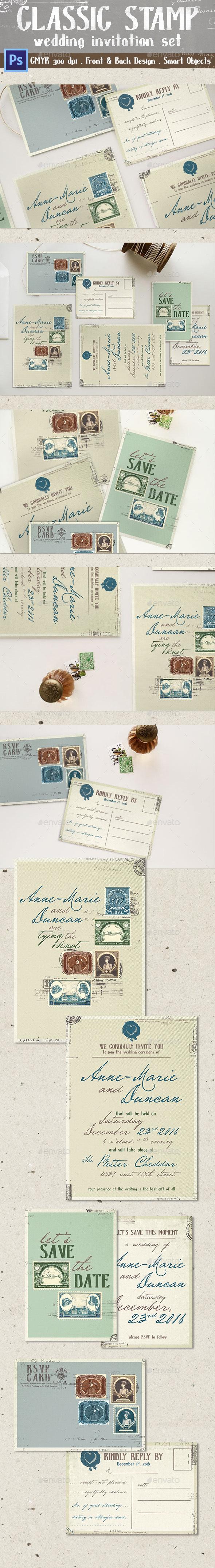 Classic Stamp Wedding Invitation - Weddings Cards & Invites