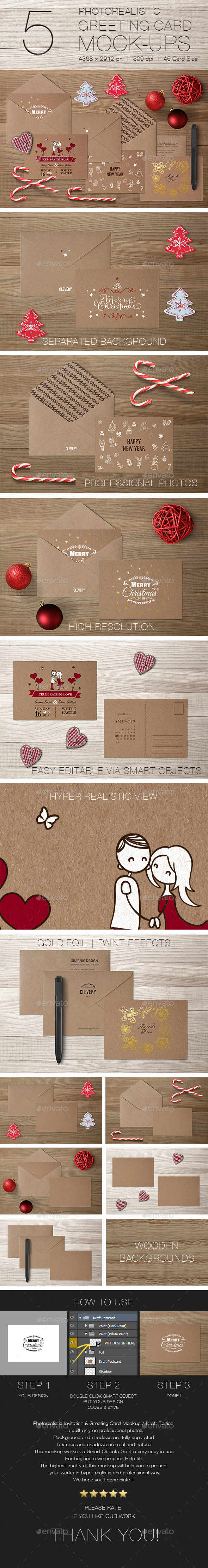 Photorealistic Invitation & Greeting Card Mockup / Kraft Edition - Miscellaneous Print