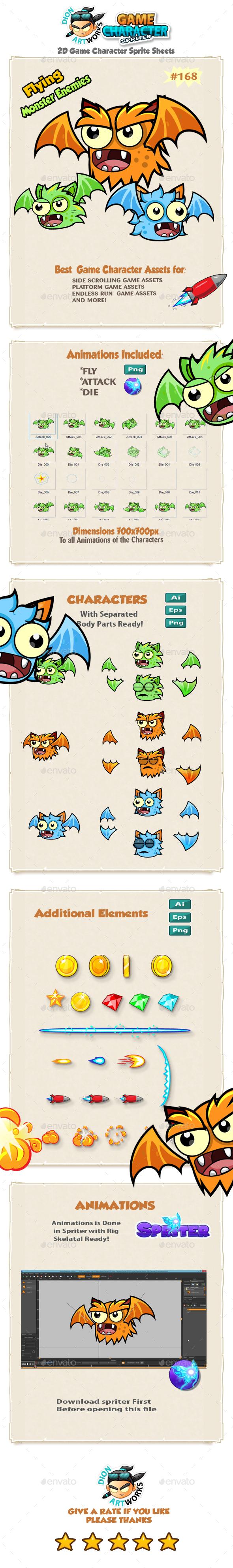 Flying Monster Enemies Game Character Sprites 168 - Sprites Game Assets