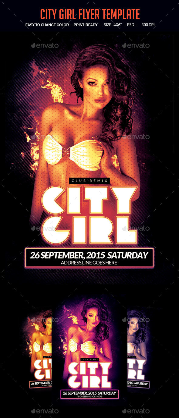 City Girl Flyer Template - Clubs & Parties Events