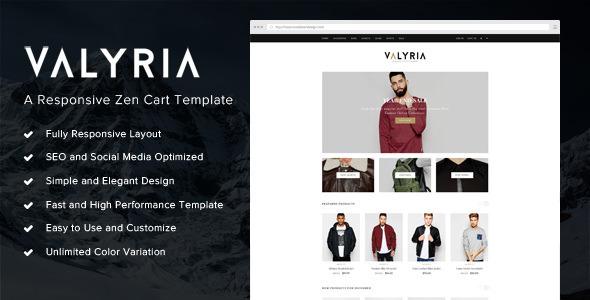 Valyria – A Responsive Zen Cart Template