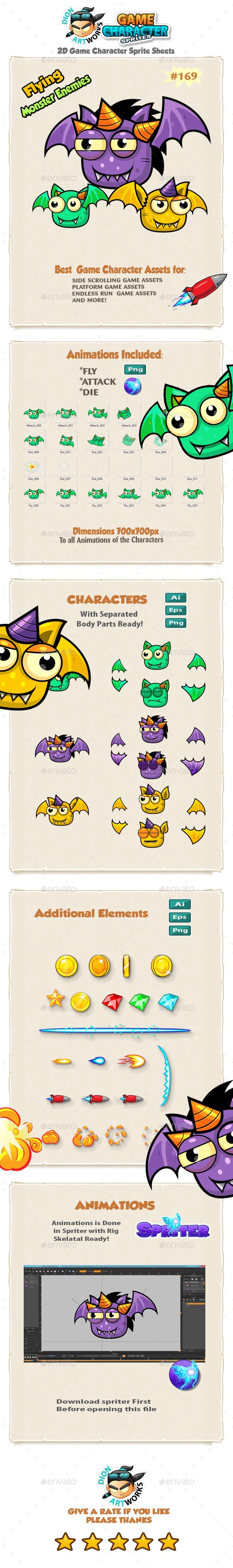 Flying Monster Enemies  Game Character Sprites 169 - Sprites Game Assets