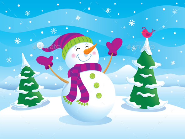 Happy Snowman with Arms Raised - Christmas Seasons/Holidays
