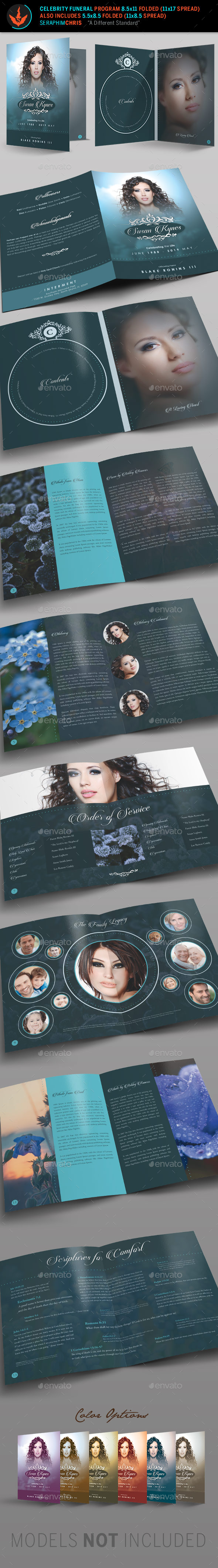 Celebrity Funeral Program: Bi-Fold Template - Informational Brochures