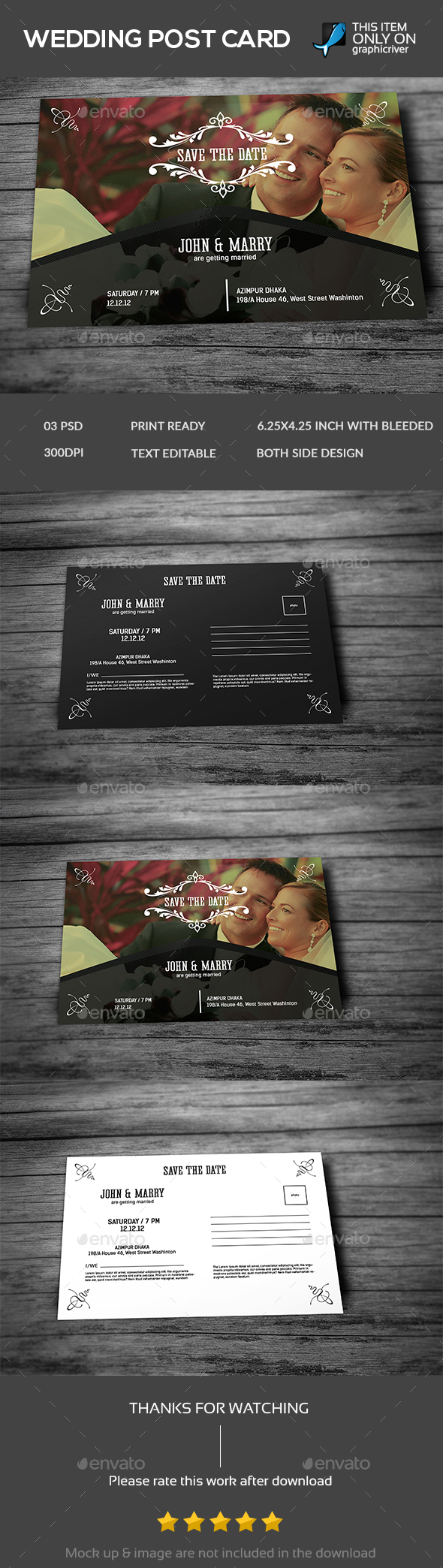 Wedding Post Card Template - Weddings Cards & Invites