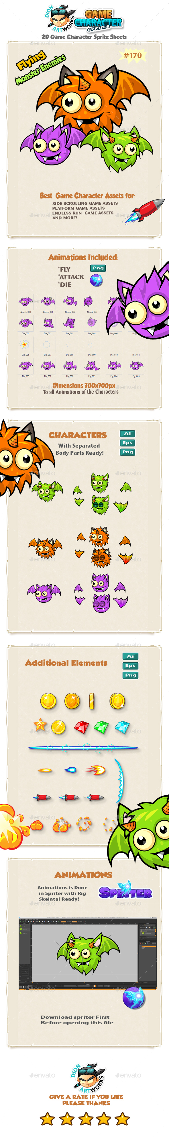 Flying Monster Enemies  Game Character Sprites 170 - Sprites Game Assets
