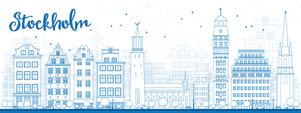 Outline Stockholm Skyline with Blue Buildings. - Buildings Objects