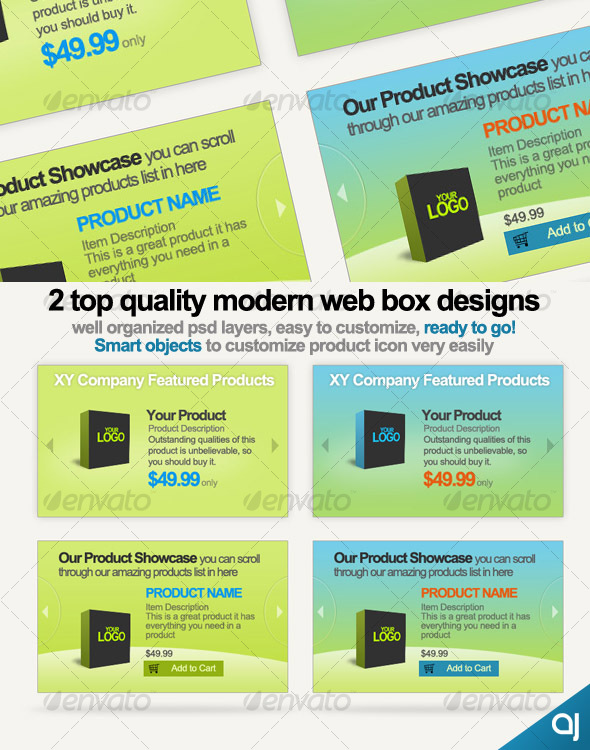 2 Style web boxes for product showcase display - Web Elements