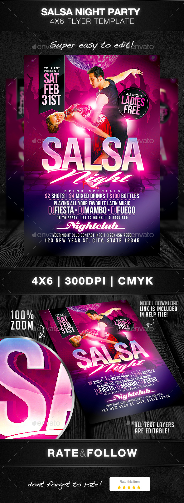 Salsa Night Flyer Template - Clubs & Parties Events