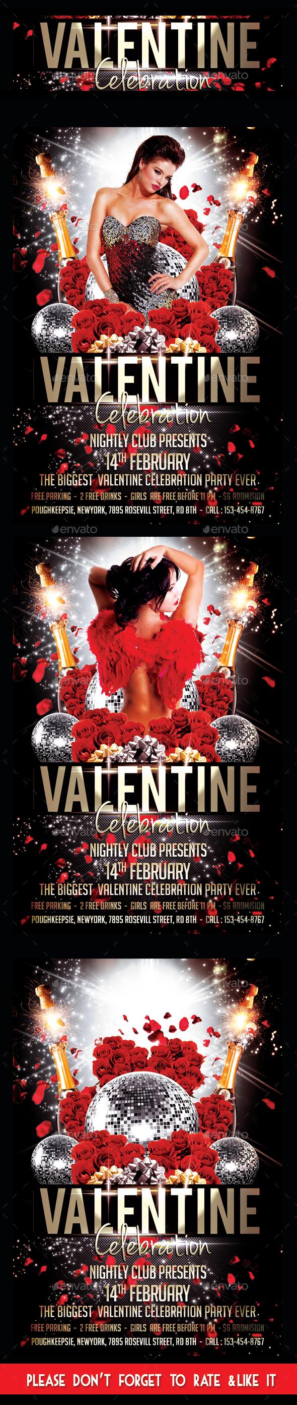 Valentine Day Celebraion Party Flyer - Flyers Print Templates
